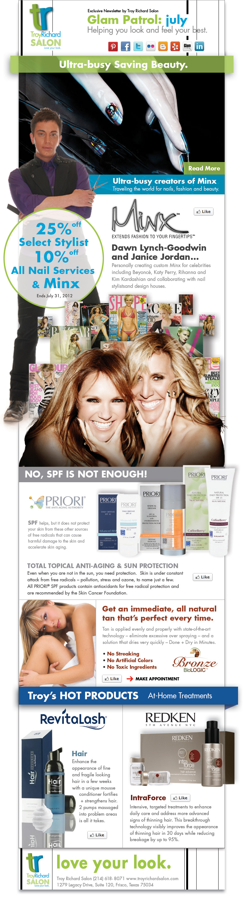 Troy Richard Salon Glam Patrol Monthly Newsletter